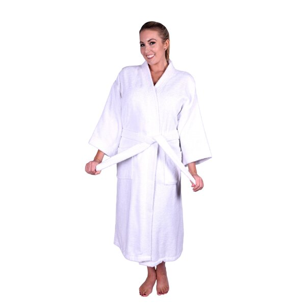 Solid Natural Soft Kimono 100% Cotton Bathrobe by